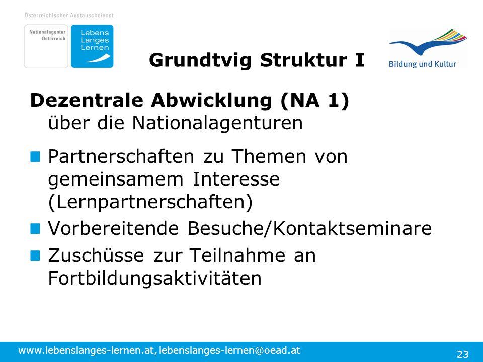Grundtvig Struktur I Dezentrale Abwicklung (NA 1) über die Nationalagenturen.