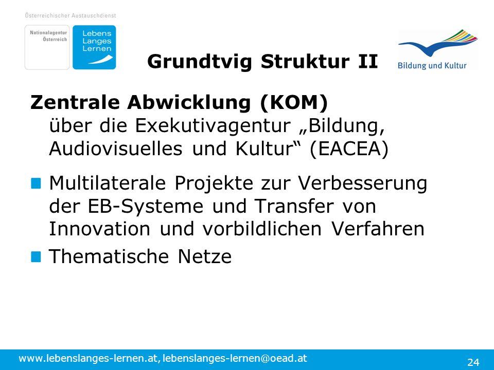 """Grundtvig Struktur II Zentrale Abwicklung (KOM) über die Exekutivagentur """"Bildung, Audiovisuelles und Kultur (EACEA)"""