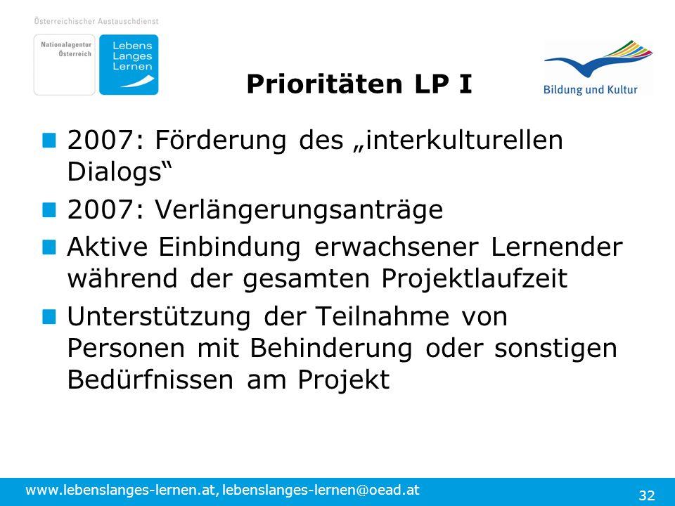 """Prioritäten LP I 2007: Förderung des """"interkulturellen Dialogs 2007: Verlängerungsanträge."""