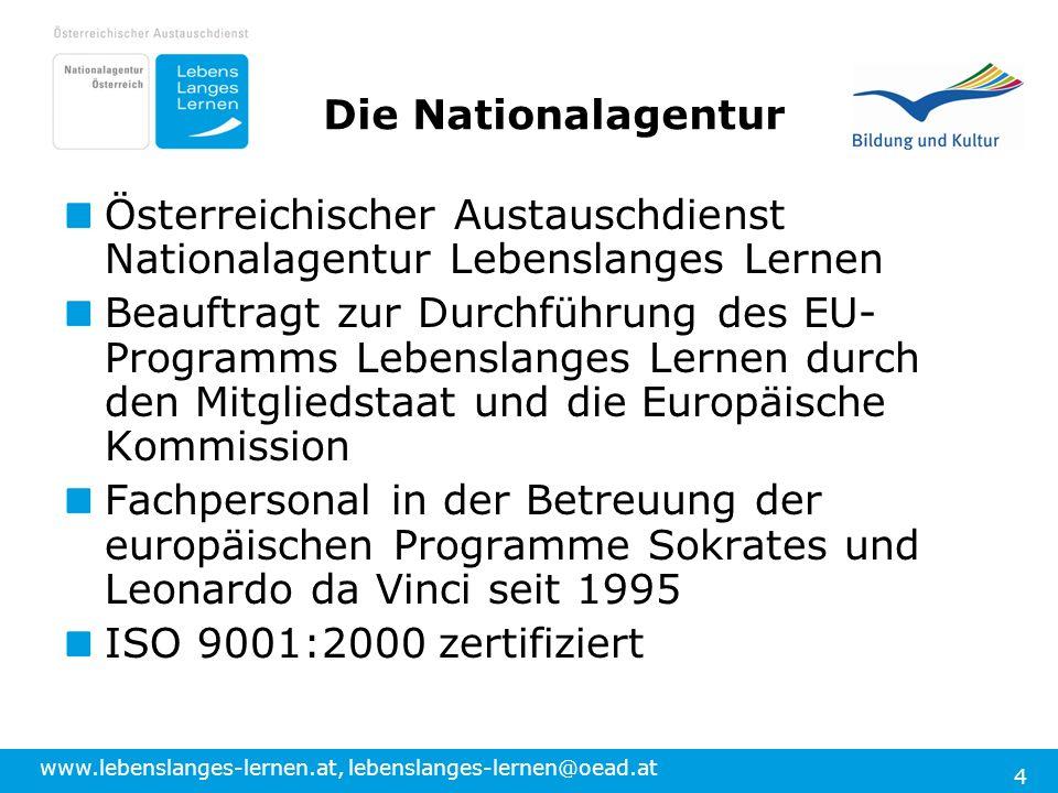 Die Nationalagentur Österreichischer Austauschdienst Nationalagentur Lebenslanges Lernen.