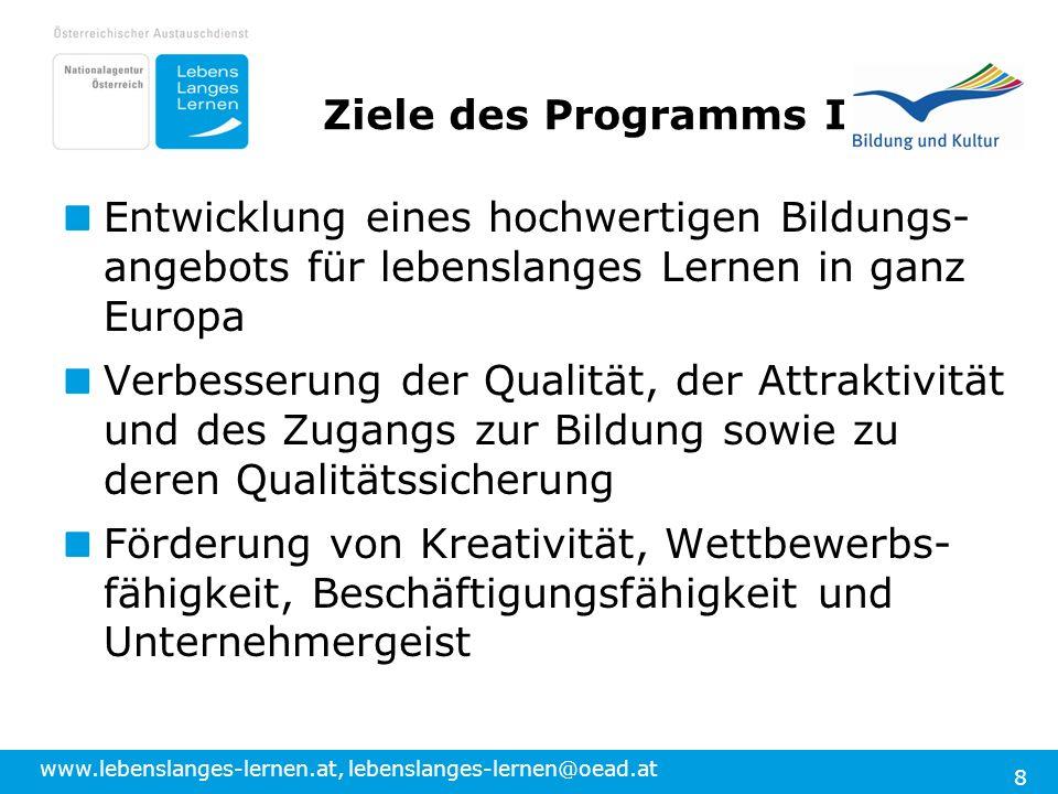 Ziele des Programms I Entwicklung eines hochwertigen Bildungs-angebots für lebenslanges Lernen in ganz Europa.