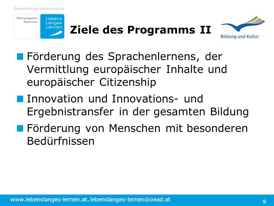 Ziele des Programms II Förderung des Sprachenlernens, der Vermittlung europäischer Inhalte und europäischer Citizenship.