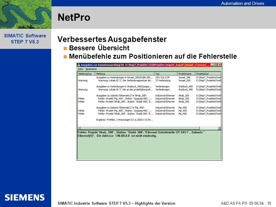NetPro Verbessertes Ausgabefenster Bessere Übersicht