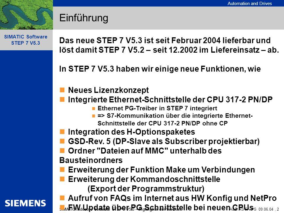 EinführungDas neue STEP 7 V5.3 ist seit Februar 2004 lieferbar und löst damit STEP 7 V5.2 – seit 12.2002 im Liefereinsatz – ab.