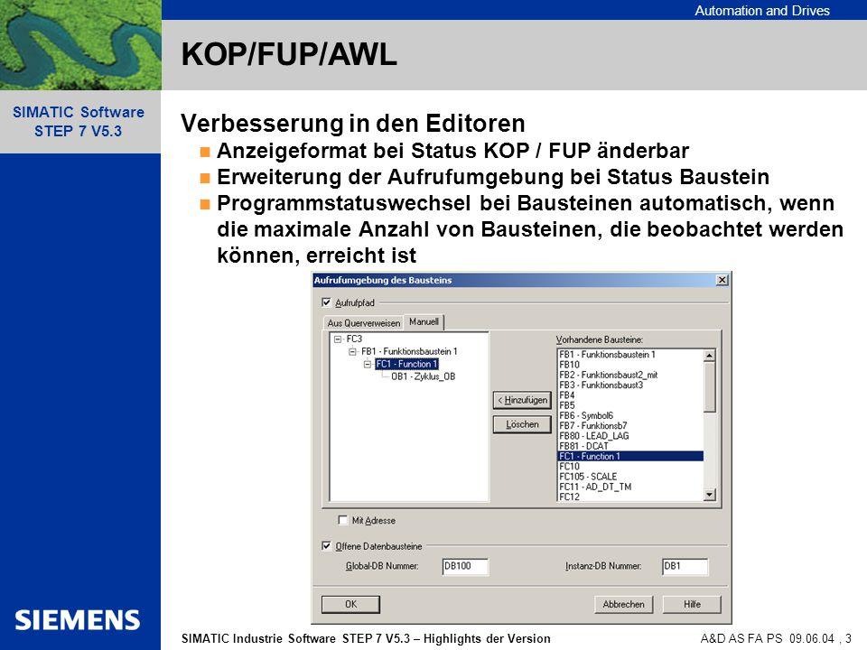 KOP/FUP/AWL Verbesserung in den Editoren
