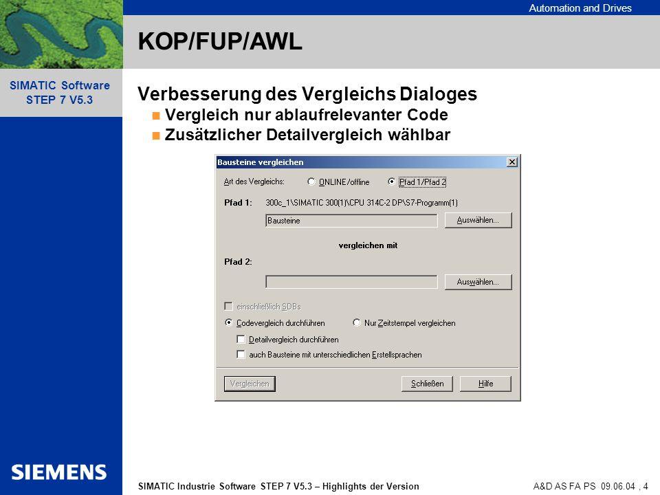 KOP/FUP/AWL Verbesserung des Vergleichs Dialoges