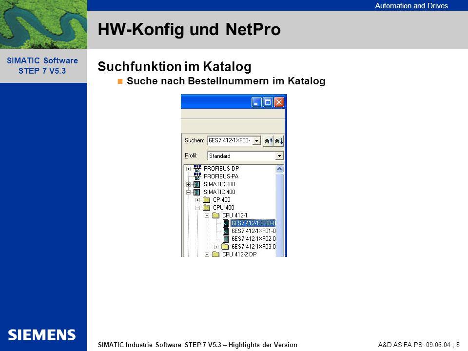 HW-Konfig und NetPro Suchfunktion im Katalog