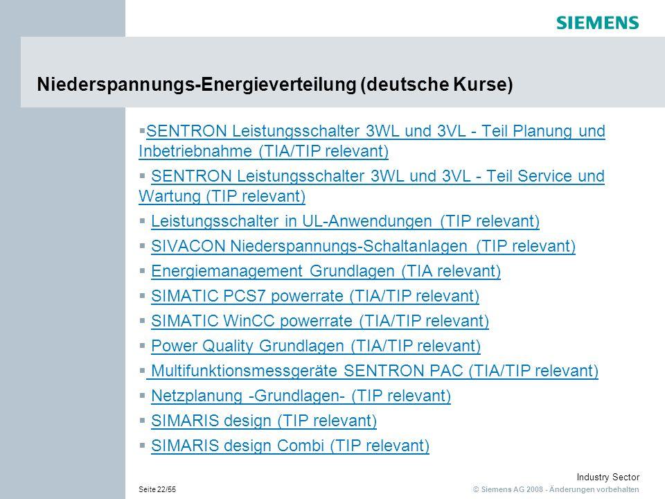 Niederspannungs-Energieverteilung (deutsche Kurse)