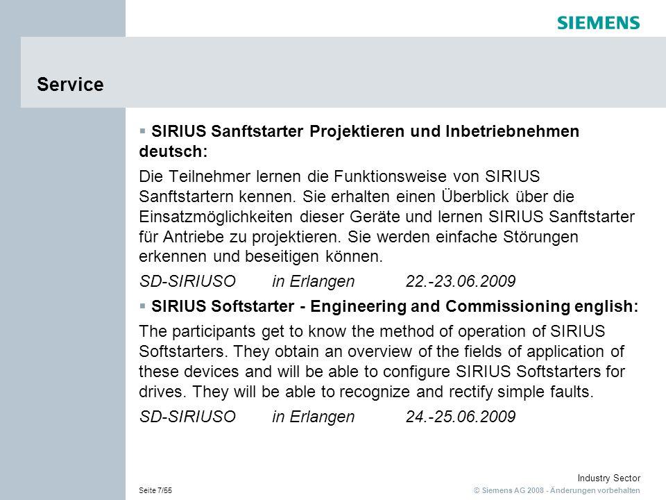 Service SIRIUS Sanftstarter Projektieren und Inbetriebnehmen-deutsch: