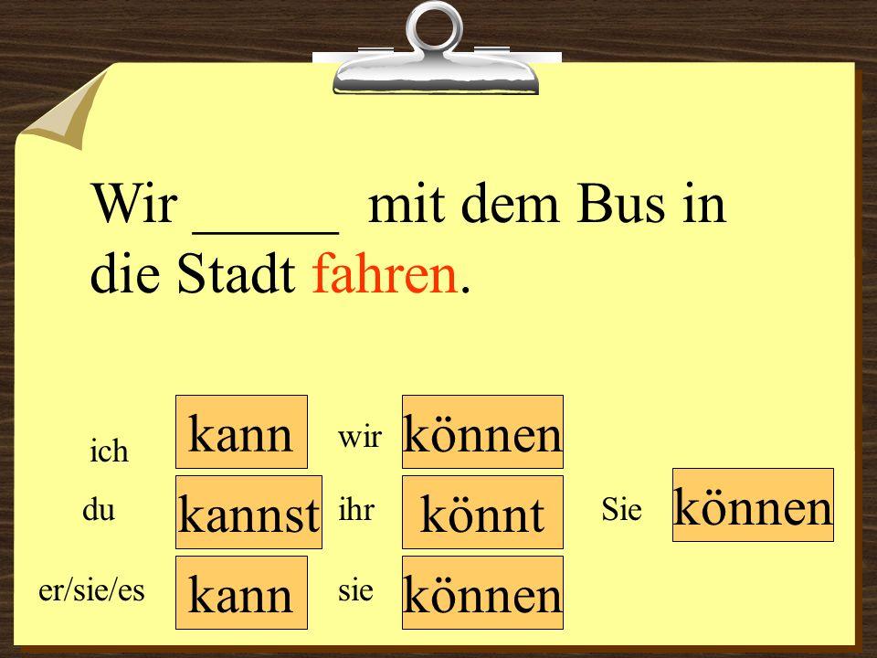 Wir _____ mit dem Bus in die Stadt fahren.
