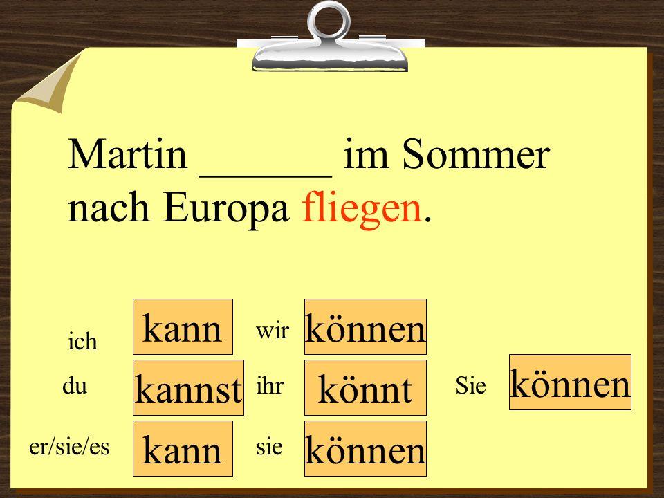 Martin ______ im Sommer nach Europa fliegen.