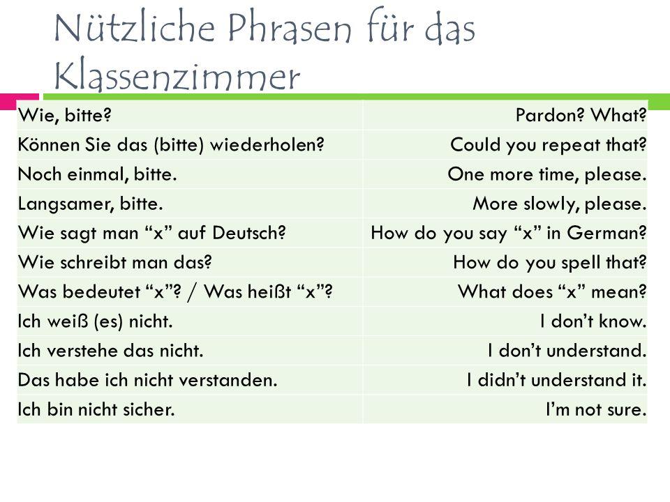 Nützliche Phrasen für das Klassenzimmer