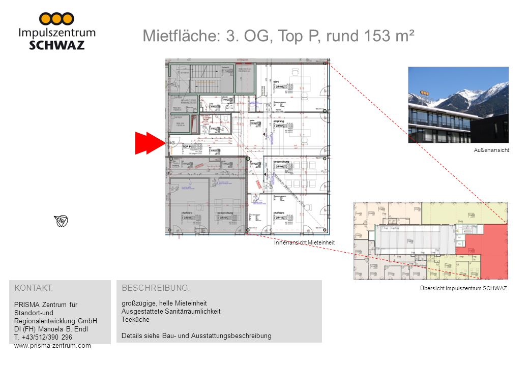 Mietfläche: 3. OG, Top P, rund 153 m²
