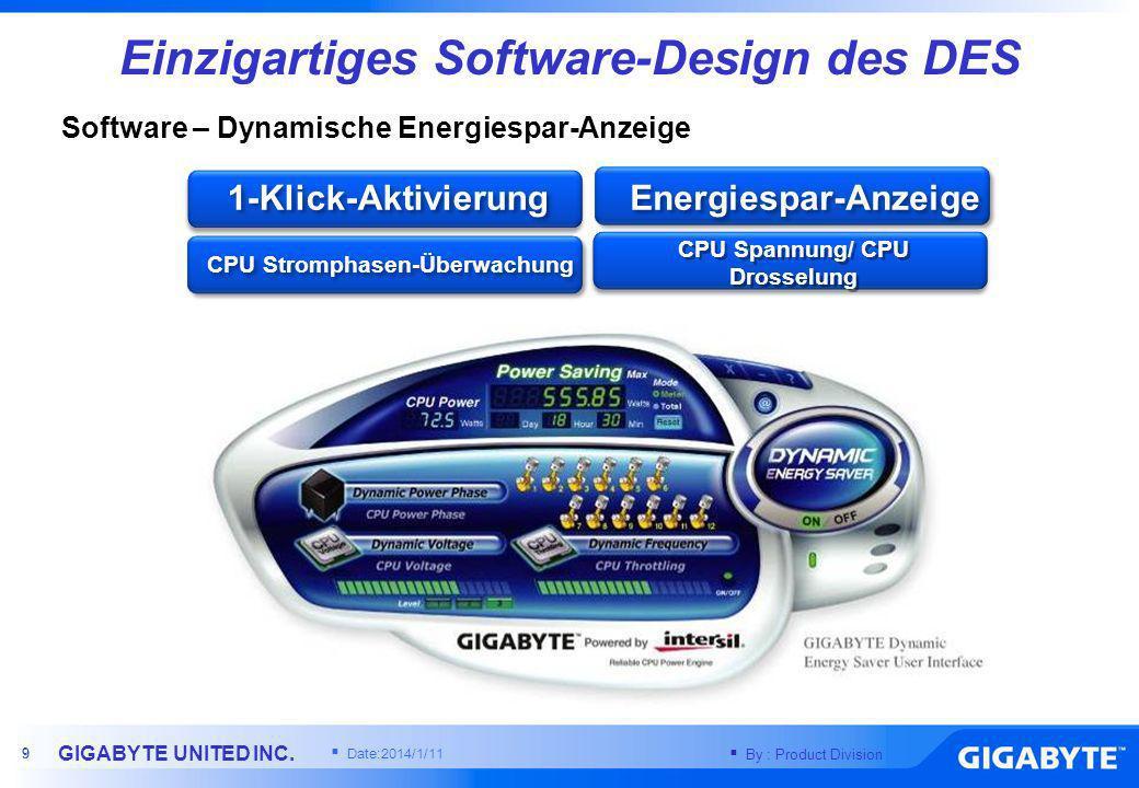 Einzigartiges Software-Design des DES CPU Spannung/ CPU Drosselung