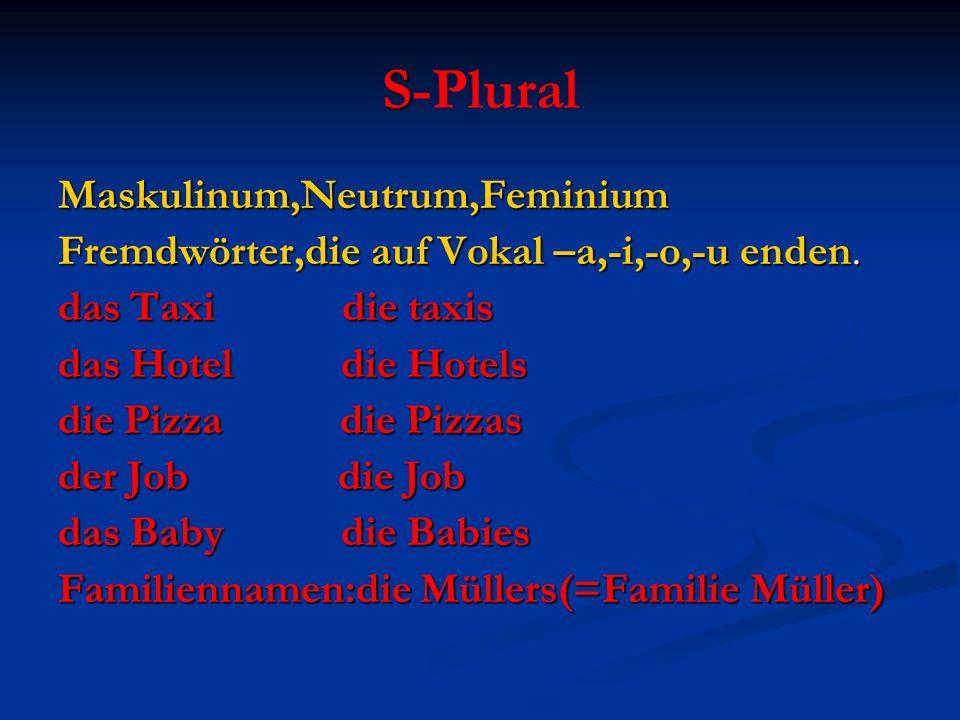 S-Plural Maskulinum,Neutrum,Feminium