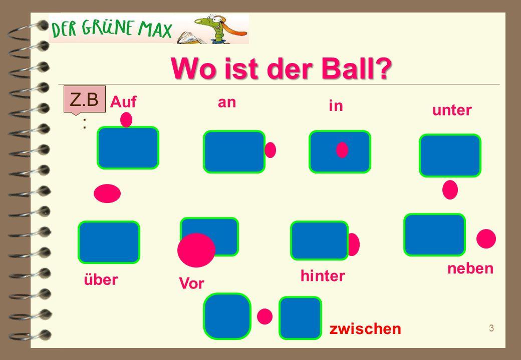 Wo ist der Ball Z.B: Auf an in unter neben hinter über Vor zwischen