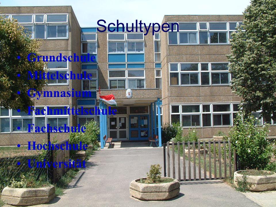 Schultypen Grundschule Mittelschule Gymnasium Fachmittelschule