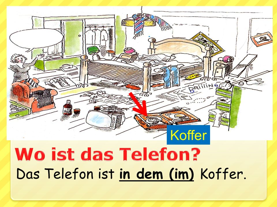 Koffer Wo ist das Telefon Das Telefon ist in dem (im) Koffer.