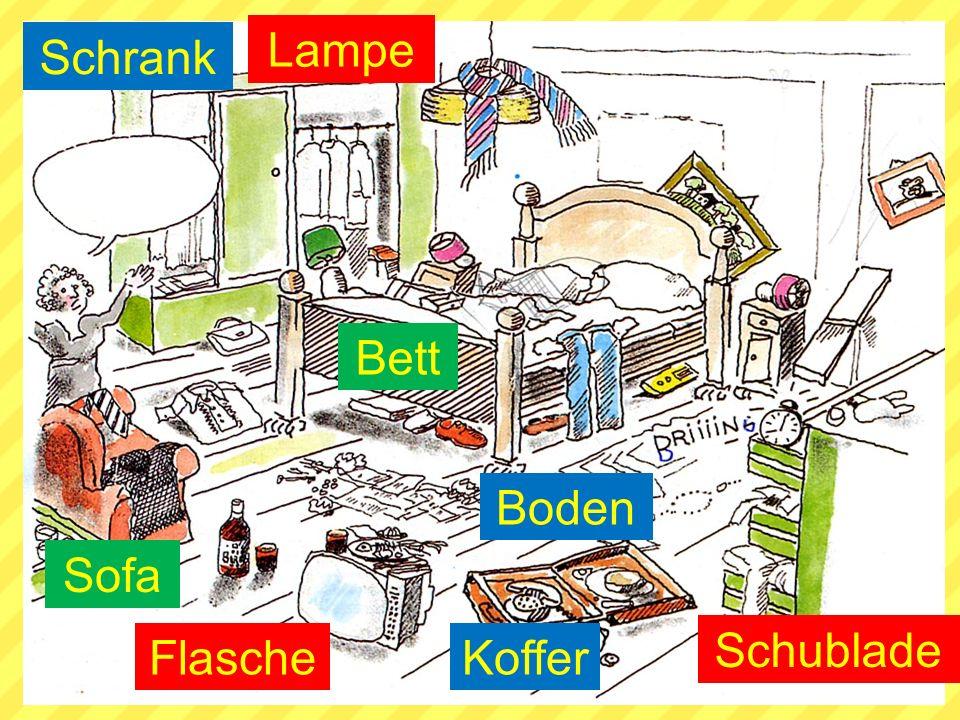 Lampe Schrank Bett Boden Sofa Schublade Flasche Koffer