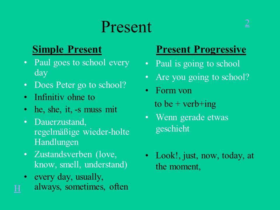 Present Simple Present Present Progressive