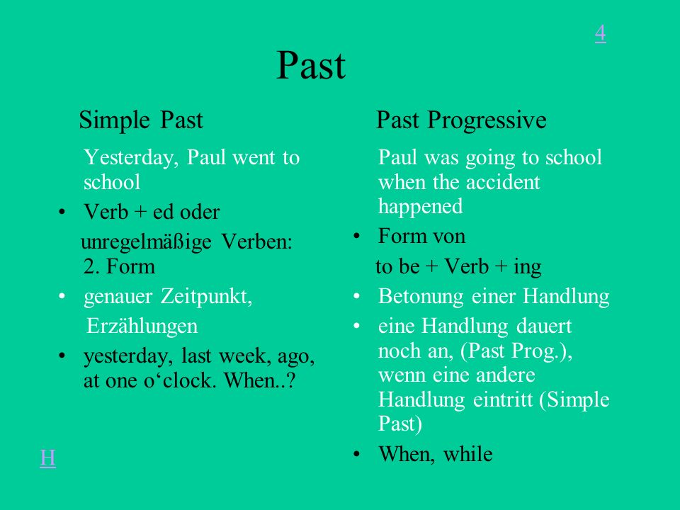 Past Simple Past Past Progressive