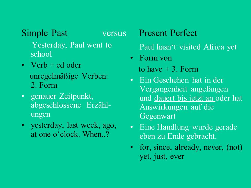 Simple Past versus Present Perfect