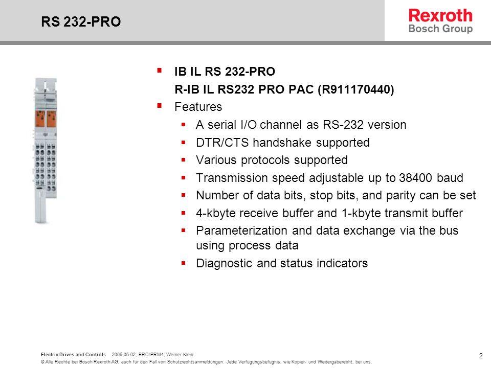 RS 232-PRO IB IL RS 232-PRO R-IB IL RS232 PRO PAC (R911170440)