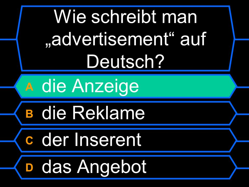 """Wie schreibt man """"advertisement auf Deutsch"""