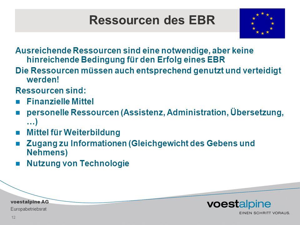Ressourcen des EBR Ausreichende Ressourcen sind eine notwendige, aber keine hinreichende Bedingung für den Erfolg eines EBR.
