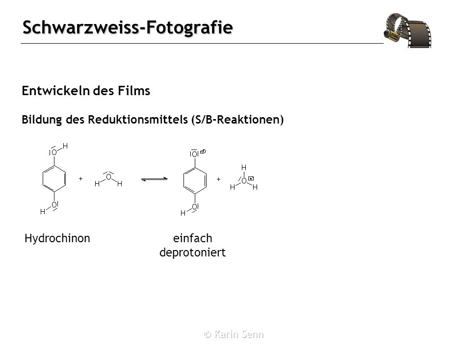 Entwickeln des Films Hydrochinon einfach deprotoniert