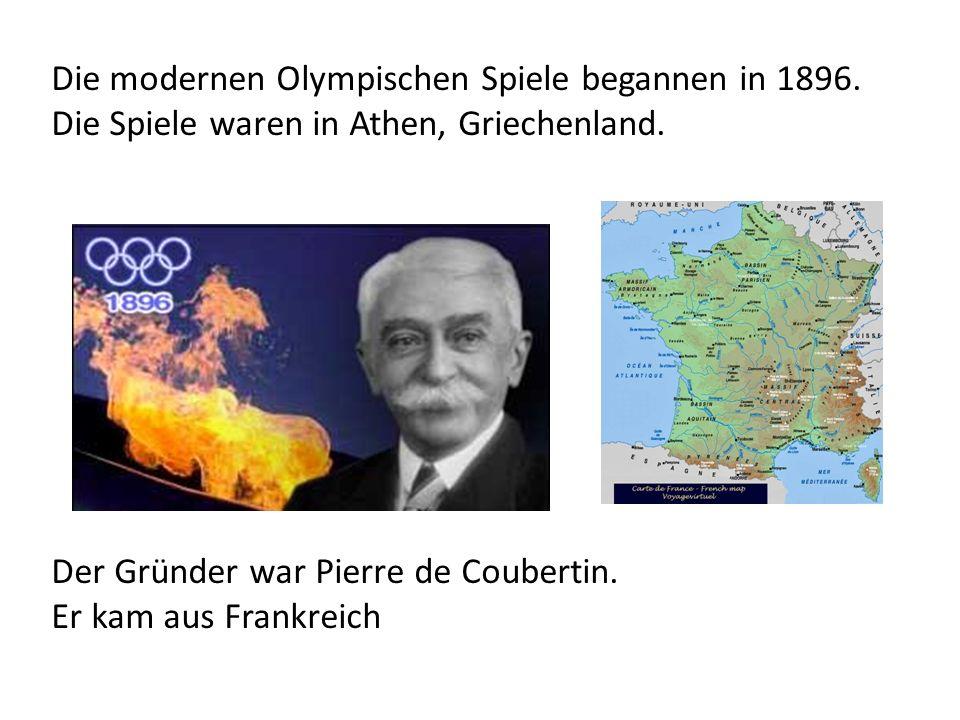 Die modernen Olympischen Spiele begannen in 1896.