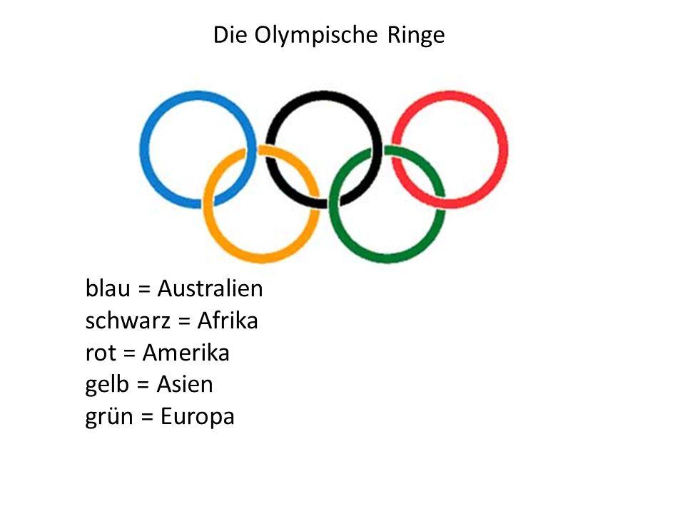Die Olympische Ringe blau = Australien schwarz = Afrika rot = Amerika gelb = Asien grün = Europa