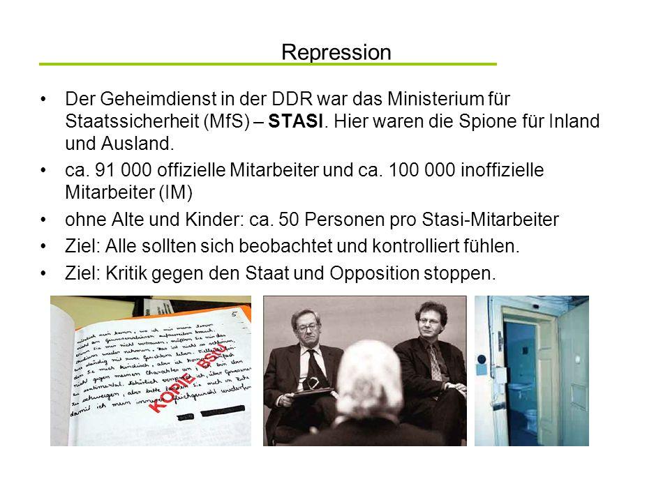 Repression Der Geheimdienst in der DDR war das Ministerium für Staatssicherheit (MfS) – STASI. Hier waren die Spione für Inland und Ausland.