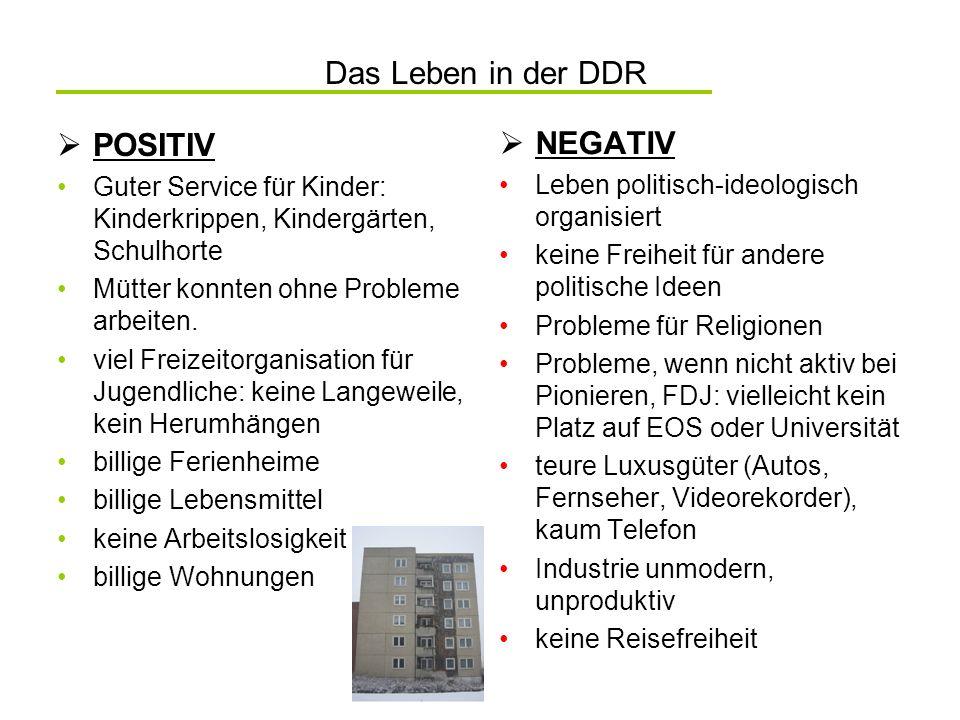 Das Leben in der DDR POSITIV NEGATIV