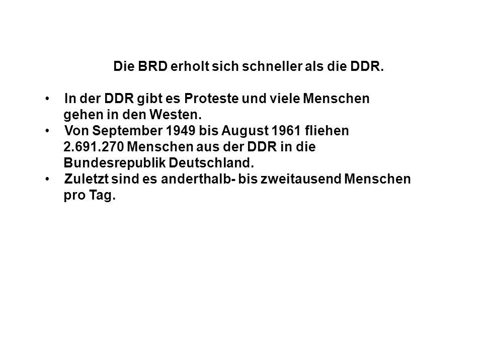 Die BRD erholt sich schneller als die DDR.