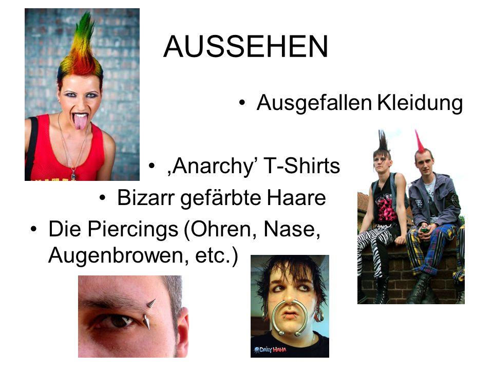 AUSSEHEN Ausgefallen Kleidung ,Anarchy' T-Shirts Bizarr gefärbte Haare