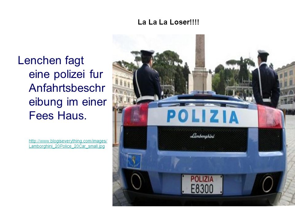Lenchen fagt eine polizei fur Anfahrtsbeschreibung im einer Fees Haus.