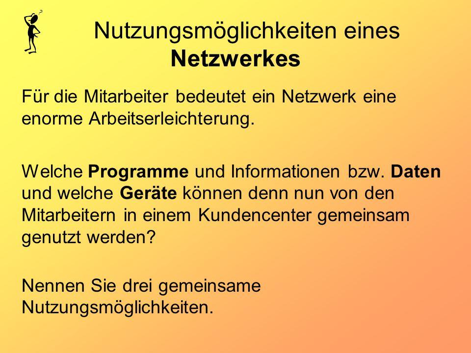 Nutzungsmöglichkeiten eines Netzwerkes