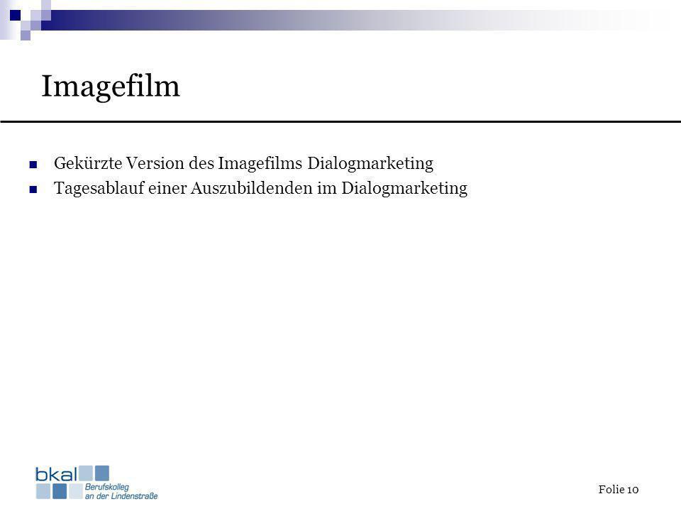 Imagefilm Gekürzte Version des Imagefilms Dialogmarketing