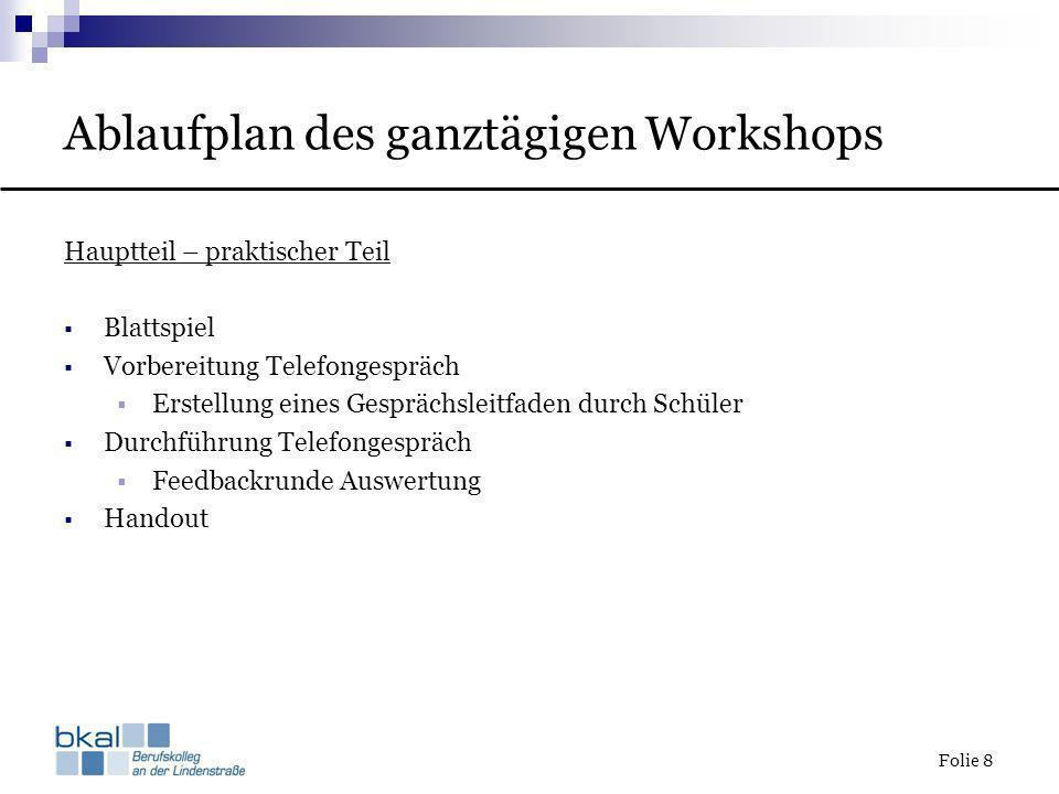 Ablaufplan des ganztägigen Workshops
