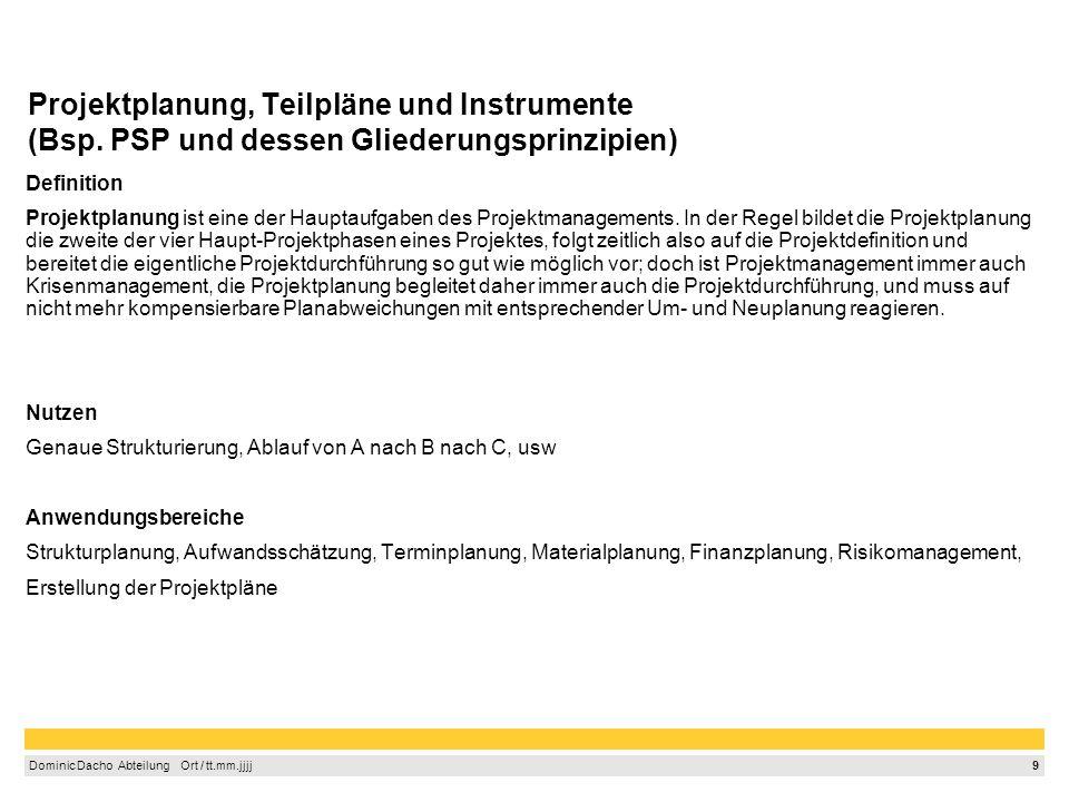 Projektplanung, Teilpläne und Instrumente (Bsp