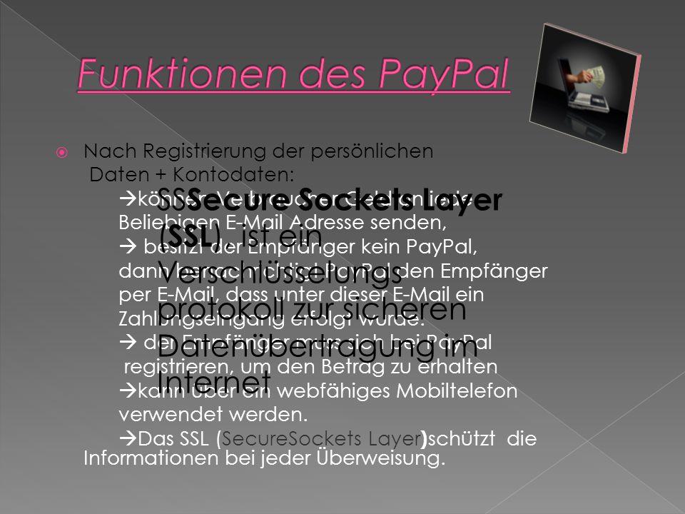 Funktionen des PayPal Nach Registrierung der persönlichen. Daten + Kontodaten: können Verbraucher Geld an jede.