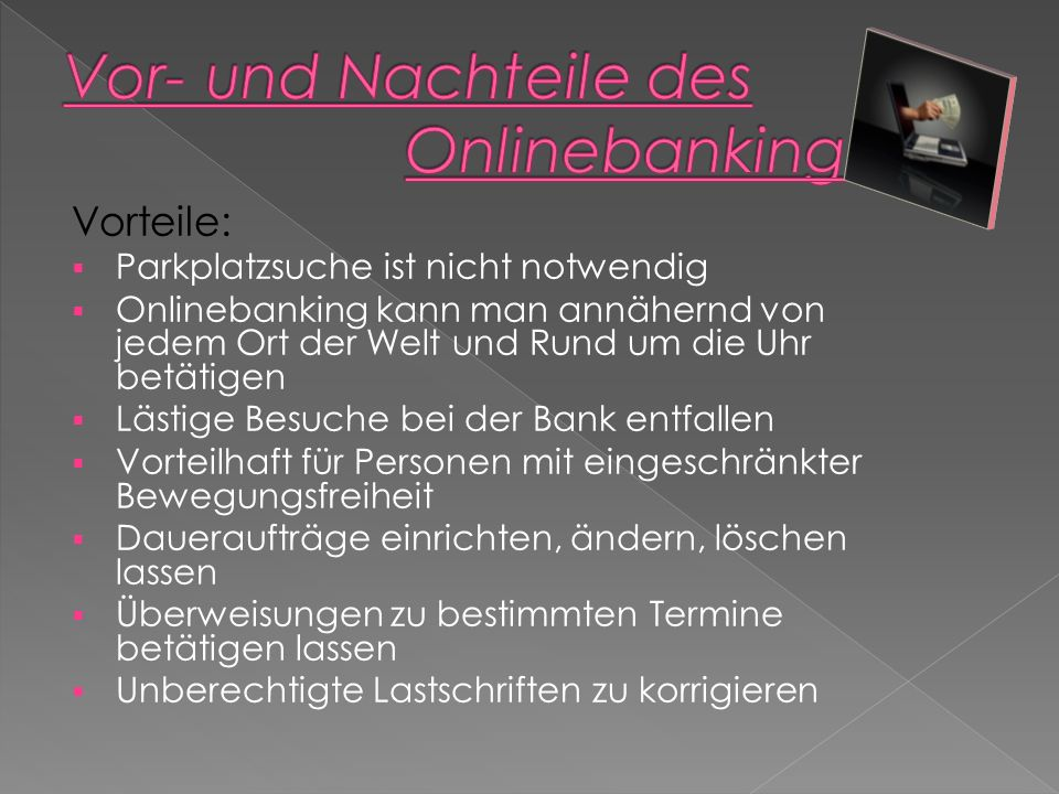 Vor- und Nachteile des Onlinebanking