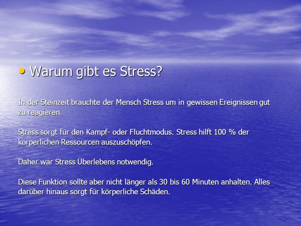 Warum gibt es Stress In der Steinzeit brauchte der Mensch Stress um in gewissen Ereignissen gut. zu reagieren.