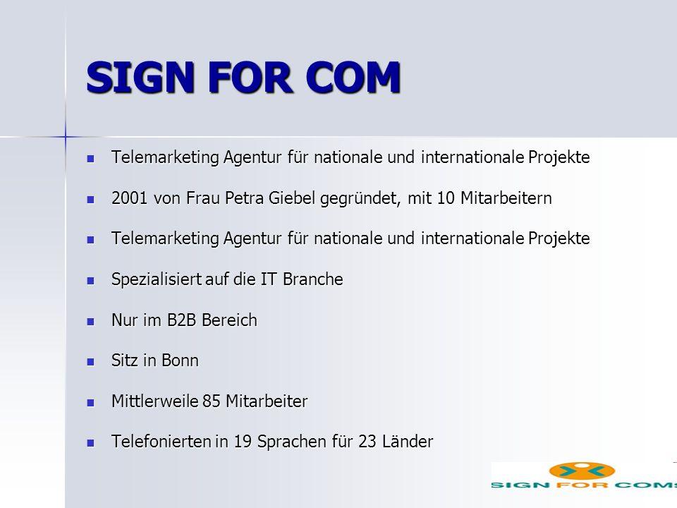 SIGN FOR COM Telemarketing Agentur für nationale und internationale Projekte. 2001 von Frau Petra Giebel gegründet, mit 10 Mitarbeitern.