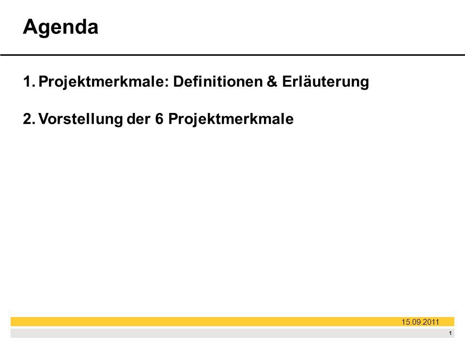Agenda Projektmerkmale: Definitionen & Erläuterung