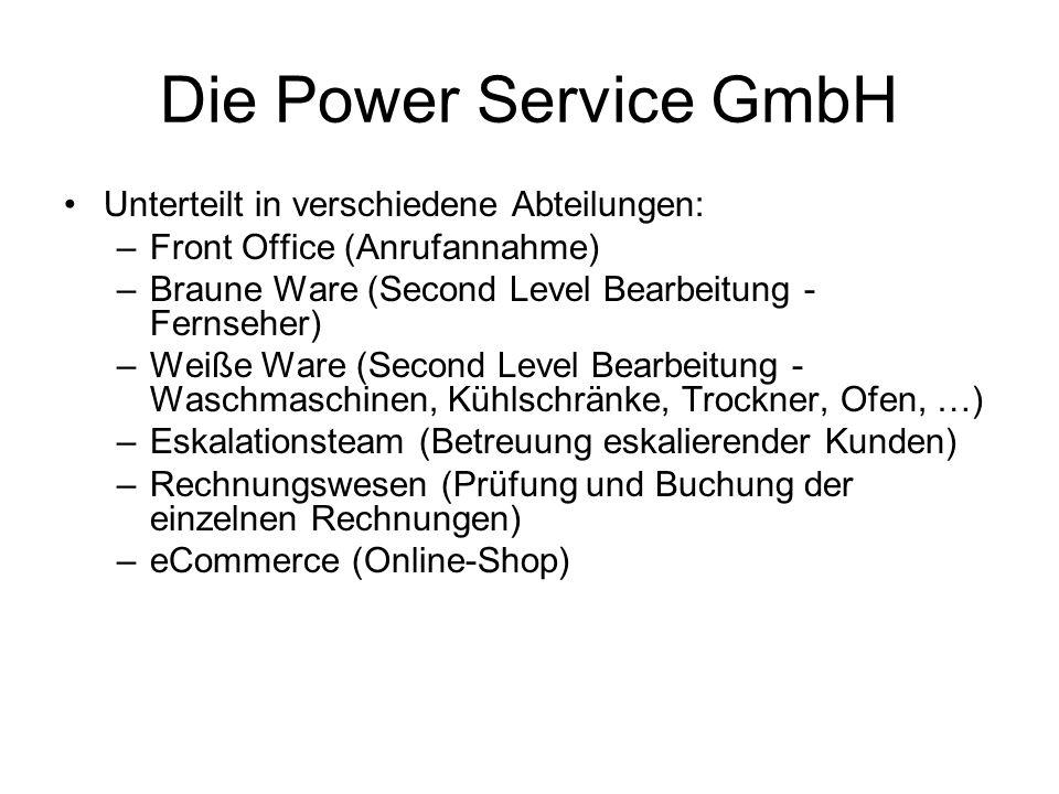 Die Power Service GmbH Unterteilt in verschiedene Abteilungen: