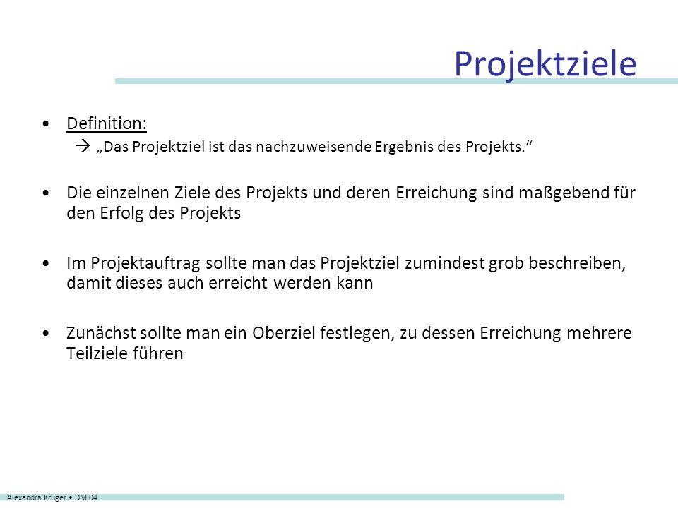 Projektziele Definition: