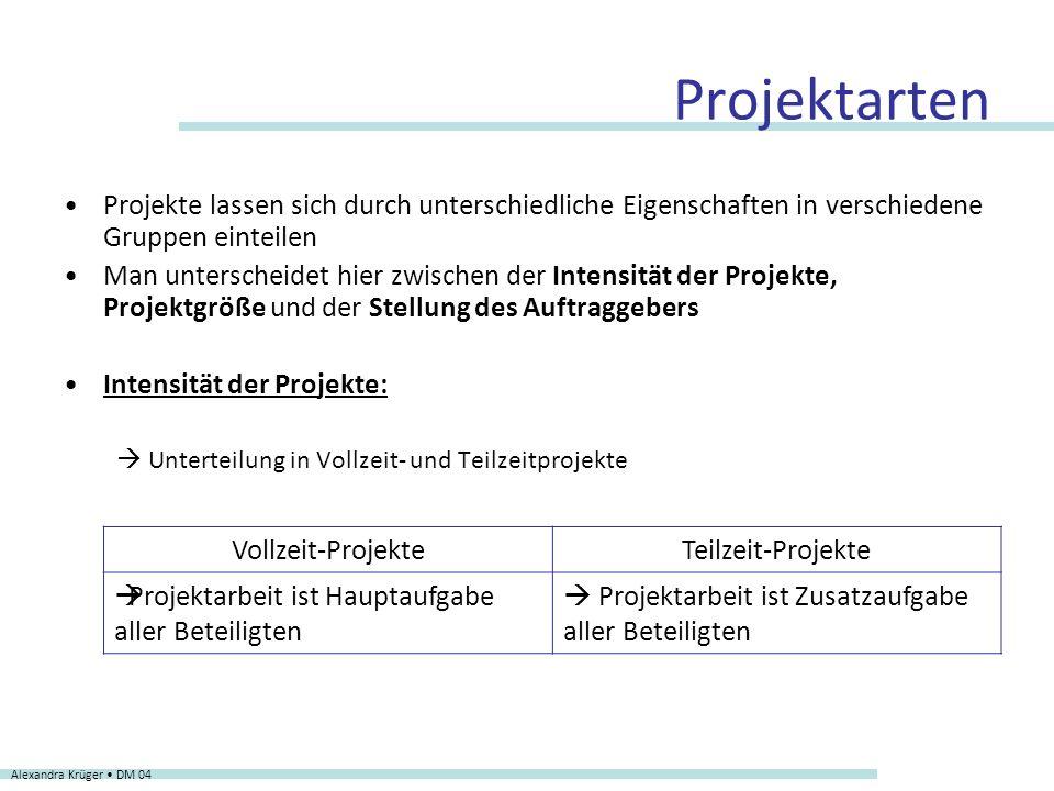 Projektarten Projekte lassen sich durch unterschiedliche Eigenschaften in verschiedene Gruppen einteilen.