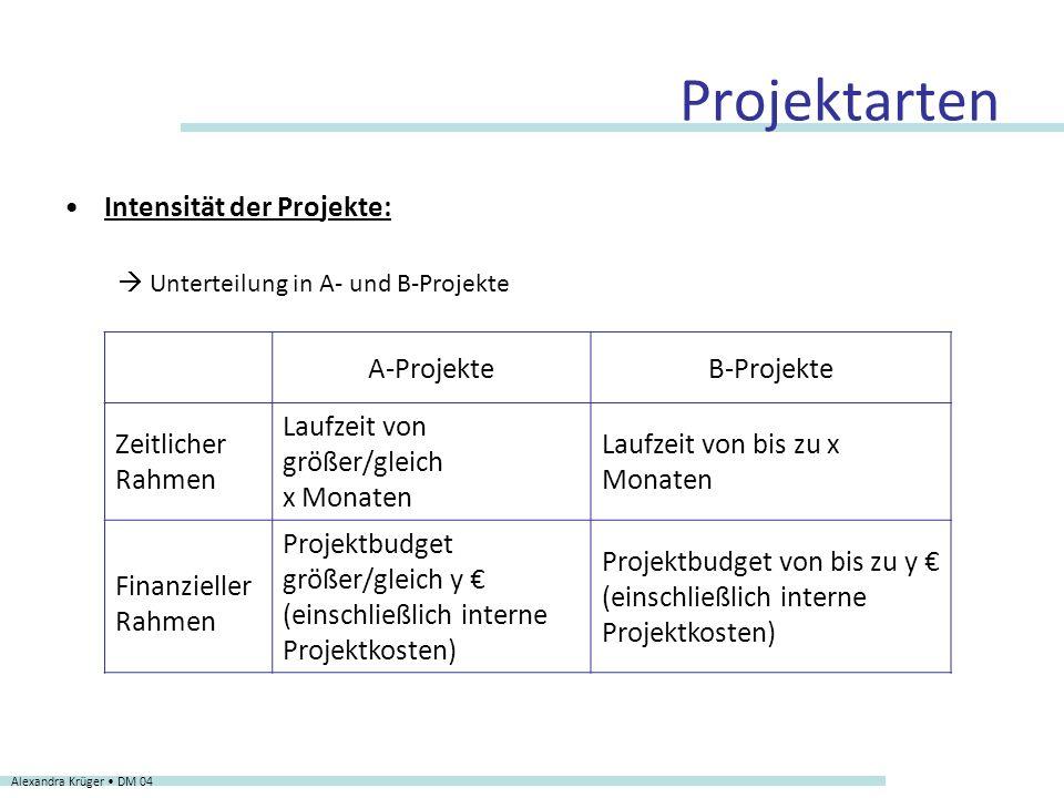 Projektarten Intensität der Projekte: A-Projekte B-Projekte
